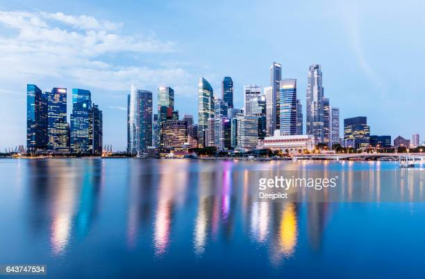 The Singapore Downtown and Marina Bay Business District Skyline at twilight