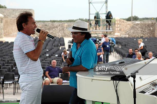 The singer and actor Al Bano and the musician Roby Facchinetti photo shooted on the stage during the Mea Puglia Festival Cellino San Marco Italy 10th...