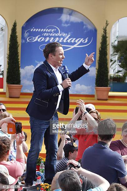 The singer and entertainer Stefan Mross performs in during the season kick off of the tv show 'Immer wieder Sonntags' at Europapark on May 31 2015 in...