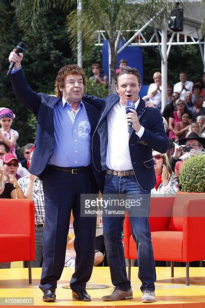 The singer and entertainer Stefan Mross performs toghether with singer Tony Marshall in during the season kick off of the tv show 'Immer wieder...