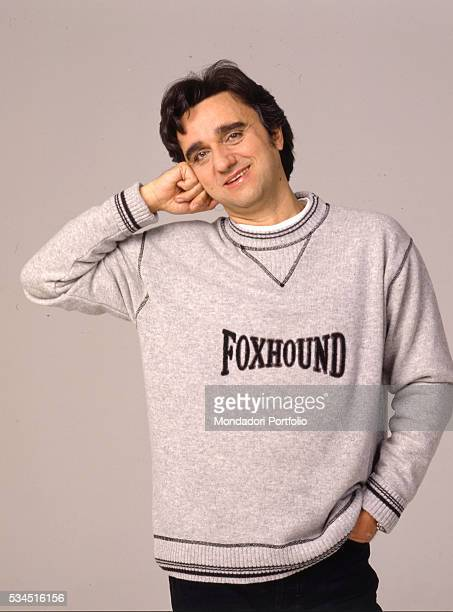 The singer and keyboard player member of Italian band 'Stadio' Gaetano Curreri posing for a photoshooting 1988