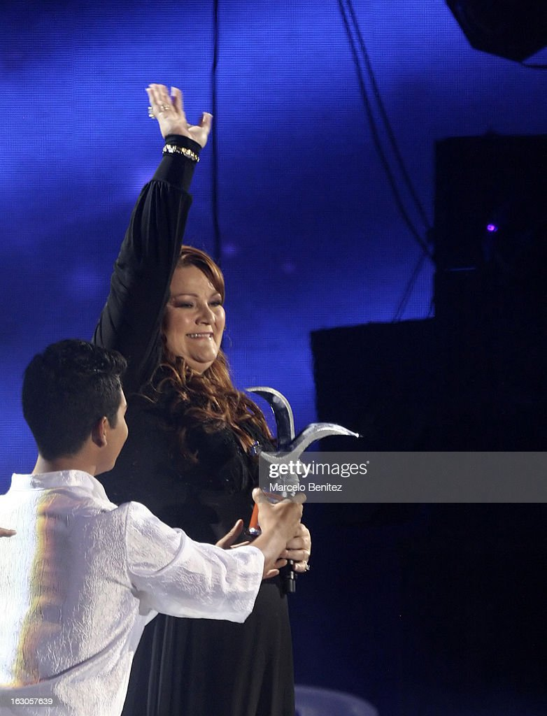 The singer Bjork of Iceland with her award on the stage of the Quinta Vergara during the 53rd International Festival of Song of Viña del Mar on March 01, 2013 in Vina del Mar, Chile.