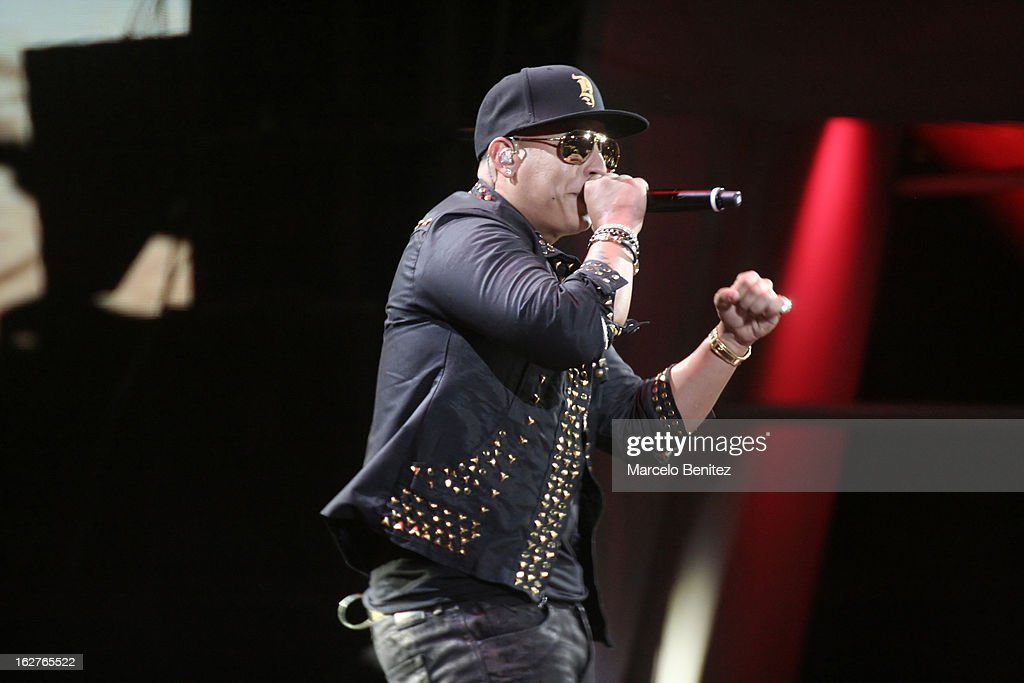 The singer Daddy Yankee of Puerto Rico sings on stage at the Quinta Vergara during the 53rd Vina del Mar International Music Festival on February 25, 2013 in Vina del Mar, Chile.