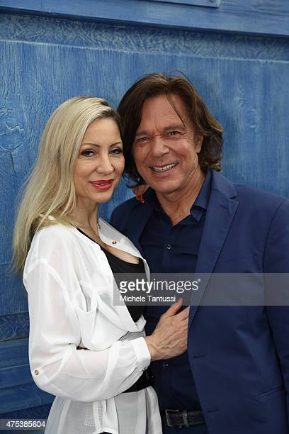 The singer Juergen Drews poses with wife Ramona in during the season kick off of the tv show 'Immer wieder Sonntags' at Europapark on May 31 2015 in...