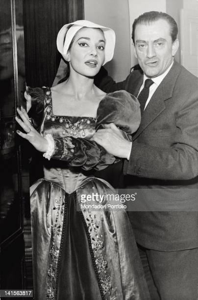 The singer Maria Callas with the director Luchino Visconti during the rehearsals of 'Anna Bolena' of Donizetti at the Teatro alla Scala It is a...