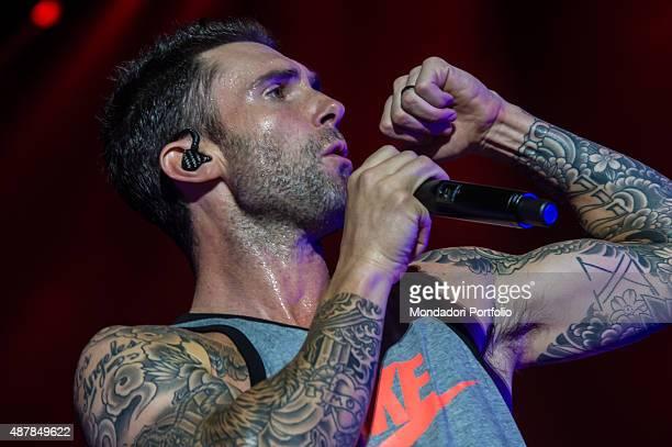 The singer of American pop rock band Maroon 5 Adam Levine performing at Mediolanum Forum Assago Milan 12th June 2015
