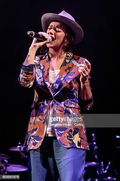 The singer of Italian rock band Baustelle Rachele Bastreghi performs live for Patty Pravo at CarroPonte in Milan Italy on September 11 2016