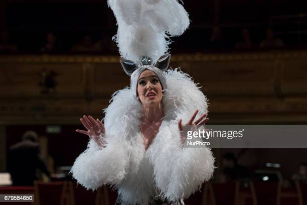 The singer Roko during the general rehearsal of the opera 'LA GATITA BLANCA' in the theater of the Zarzuela of Madrid Spain May 5 2017