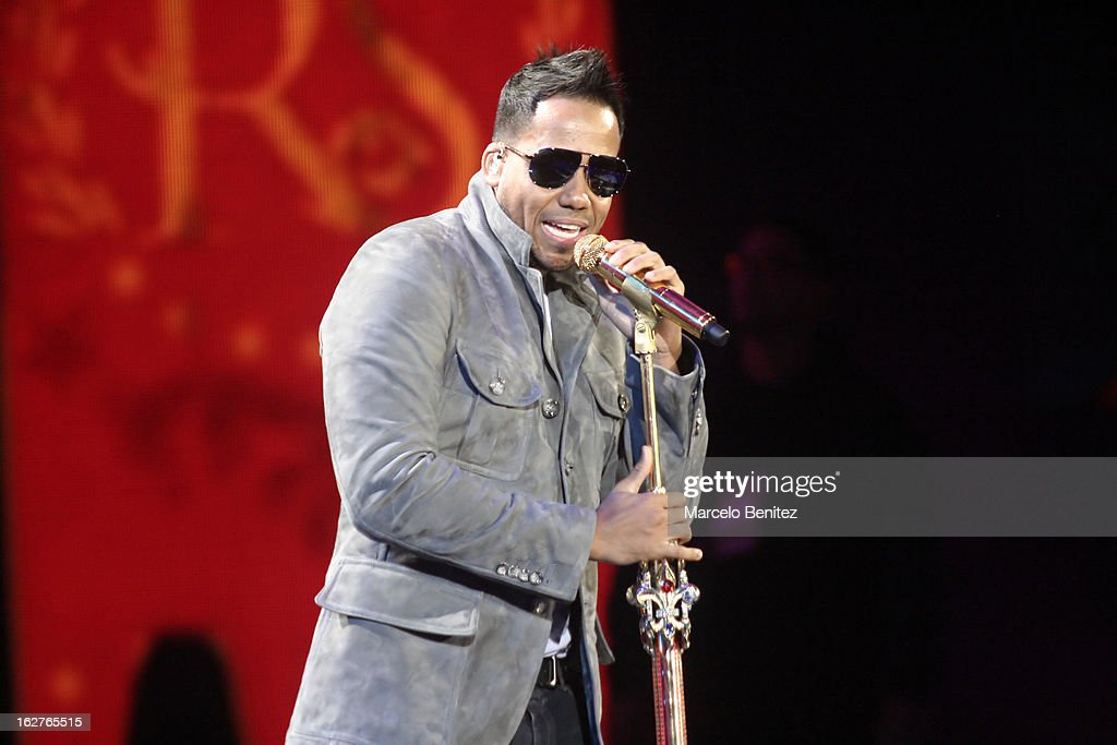 The singer <a gi-track='captionPersonalityLinkClicked' href=/galleries/search?phrase=Romeo+Santos&family=editorial&specificpeople=4103984 ng-click='$event.stopPropagation()'>Romeo Santos</a> of Dominican Republic sings on stage at the Quinta Vergara during the 53rd Vina del Mar International Music Festival on February 25, 2013 in Vina del Mar, Chile.