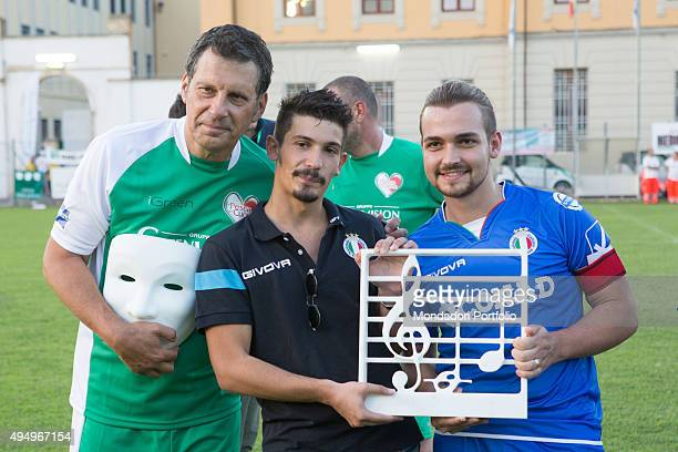 The singer Valerio Scanu the singersongwriter Pierdavide Carone and the TV host Fabrizio Frizzi taking part in the Partita del Cuore between the...