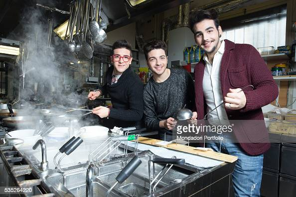 The singers and members of the band Il Volo Piero Barone Ignazio Boschetto and Gianluca Ginoble in the kitchen of a restaurant Bologna Italy 11th...