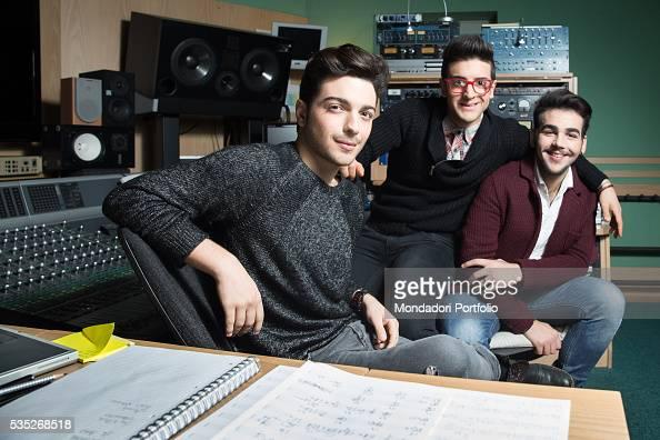 The singers and members of the band Il Volo Piero Barone Ignazio Boschetto and Gianluca Ginoble in a recording studio Bologna Italy 11th January 2015
