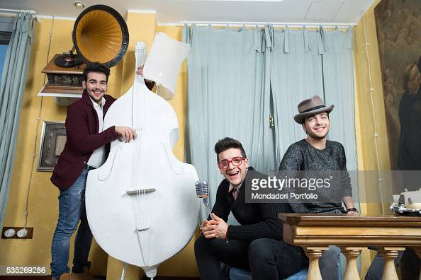 The singers and members of the band Il Volo Piero Barone Ignazio Boschetto and Gianluca Ginoble among phonographs microphones and basses Bologna...