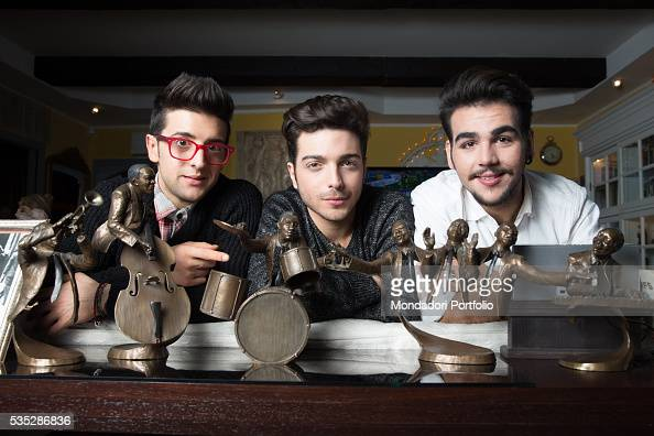 The singers and members of the band Il Volo Piero Barone Ignazio Boschetto and Gianluca Ginoble in front of some statuettes of jazz players Bologna...