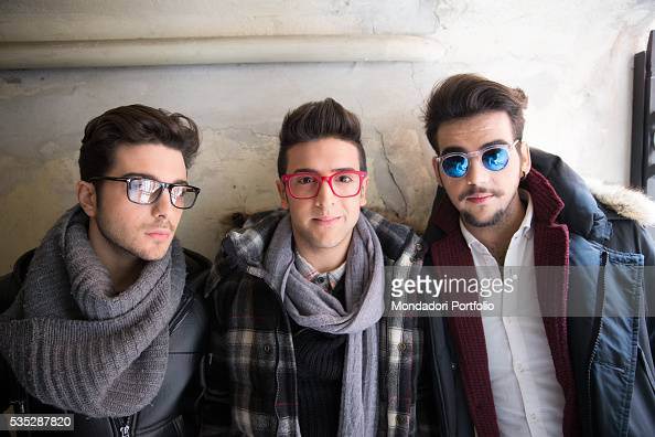 The singers and members of the band Il Volo Piero Barone Ignazio Boschetto and Gianluca Ginoble posing Bologna Italy 11th January 2015