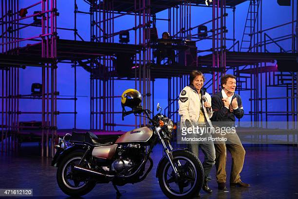 'The singers Gianna Nannini and Massimo Ranieri posing for a photo shooting at Canale 5 studios during the special evening of the TV variety show...
