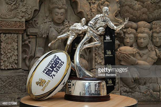 The Singha Premiership Rugby 7s trophy during a Singha Premiership Rugby 7s Series Final media event at Thai Square Restaurant on August 24 2015 in...
