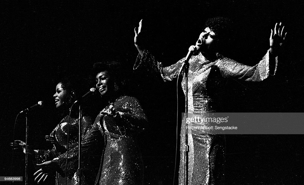 The singing group The Supremes performing in Chicago IL 1966 Left to right Mary Wilson Cindy Birdsong and Diana Ross