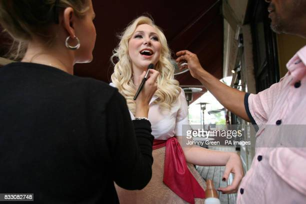 The singing waitress Victoria Hart gets her makeup applied before signing a record deal with Universal Records for an estimated 15 million at the...