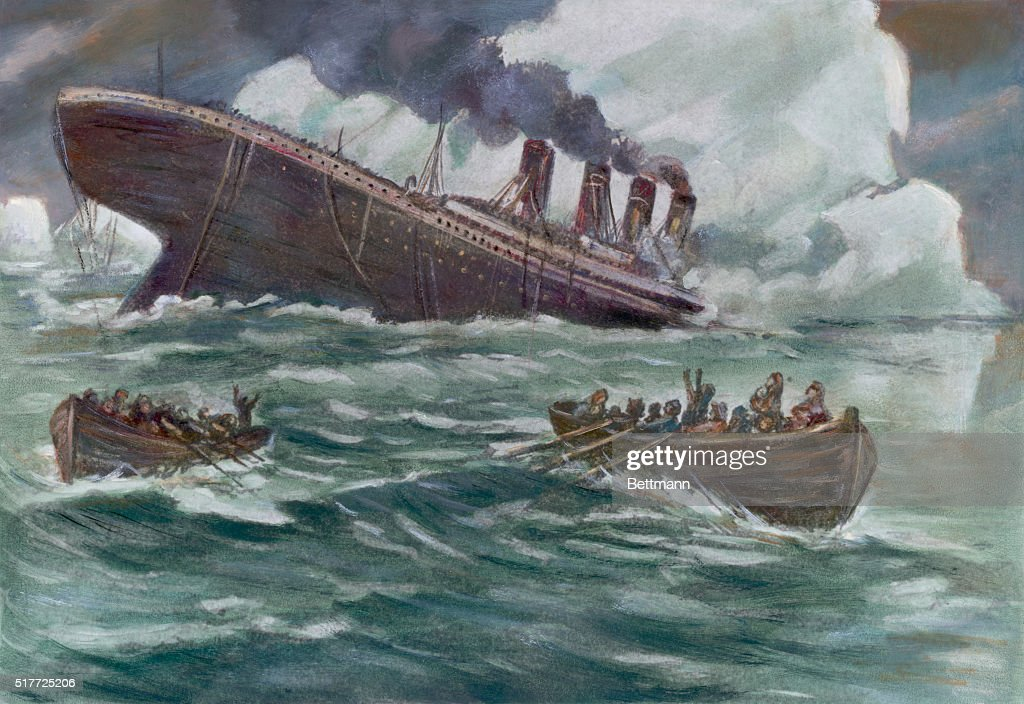 The sinking of the luxury ocean liner Titanic after its collision with an iceberg April 14 1912 Drawing