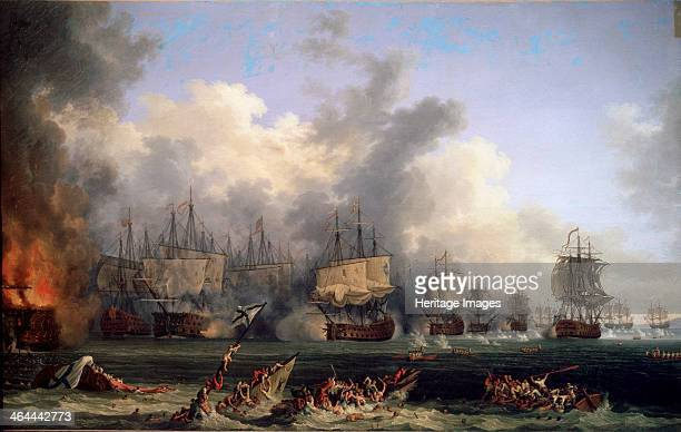 'The Sinking of the Russian Battleship St Evstafius in the naval Battle of Chesma' 1771 Hackert Jacob Philipp Found in the collection of the State...
