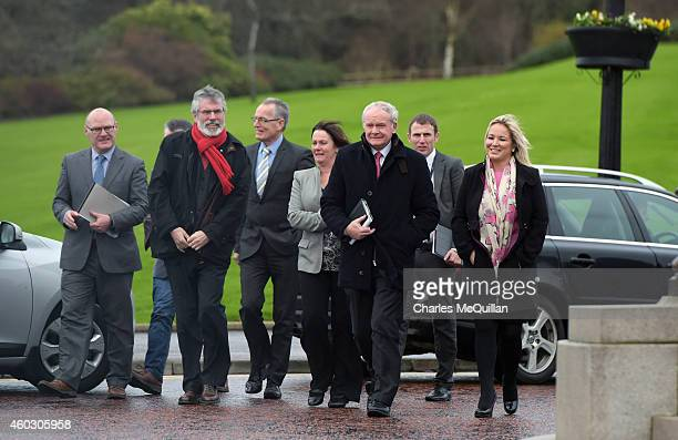 The Sinn Fein delegation including Martin McGuinness and Gerry Adams arrive for cross party talks at Stormont on December 11 2014 in Belfast Northern...