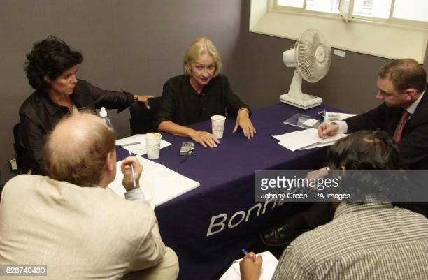 The sister of 'fifth Beatle' Stuart Sutcliffe Pauline talks to journalists inside Bonhams auction house in Knightsbridge central London A collection...
