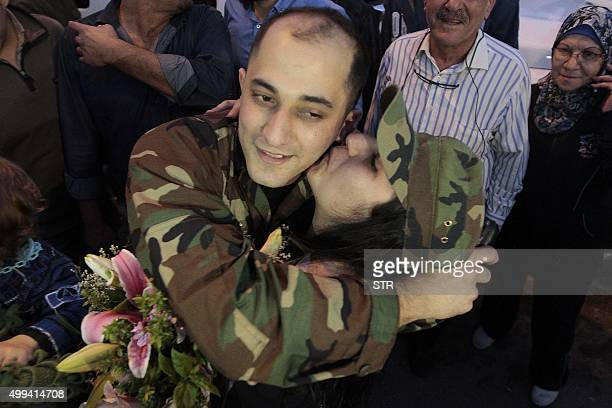 The sister of freed Lebanese soldier Gerges alKhoury who was kidnapped by jihadist groups in early August 2014 in the eastern border town of Arsal...