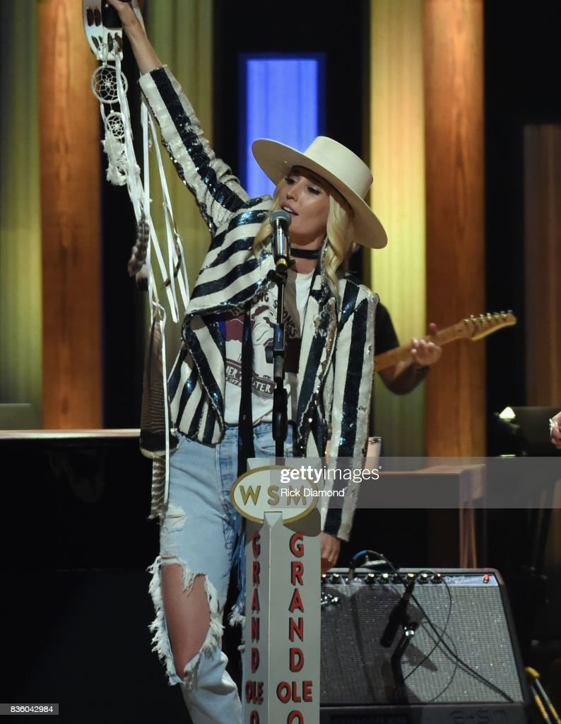 'The Sisterhood' band member Ruby Stewart (Daughter of Rod Stewart) makes her debut during Grand Ole Opry Total Eclipse 2017 Special Sunday Night Show at Grand Ole Opry House on August 20, 2017 in Nashville, Tennessee.