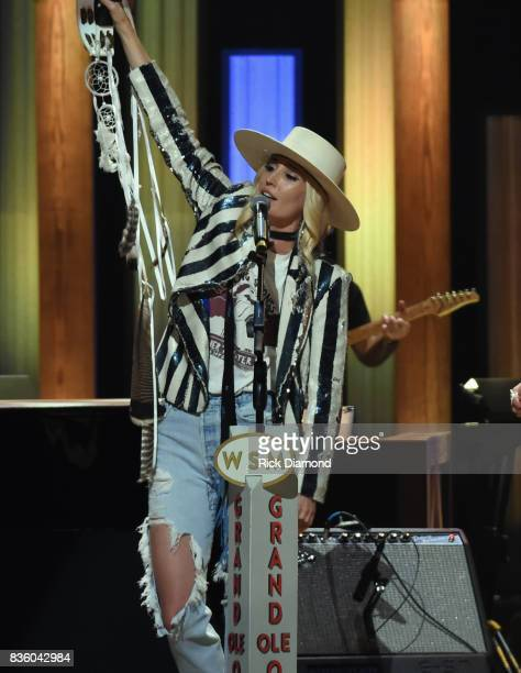'The Sisterhood' band member Ruby Stewart makes her debut during Grand Ole Opry Total Eclipse 2017 Special Sunday Night Show at Grand Ole Opry House...