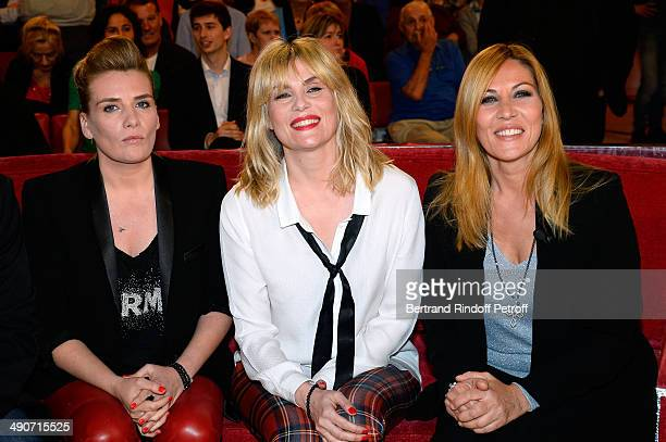 The sisters MarieAmelie Seigner Emmanuelle Seigner and main Guest of the show Mathilde Seigner who presents the movie 'La liste de mes envies' at the...