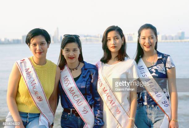 The sisters Pedruco Guiomar Isabela Geraldina and Guilhermina Miss Macao in four different years 29th October 1996 Macao