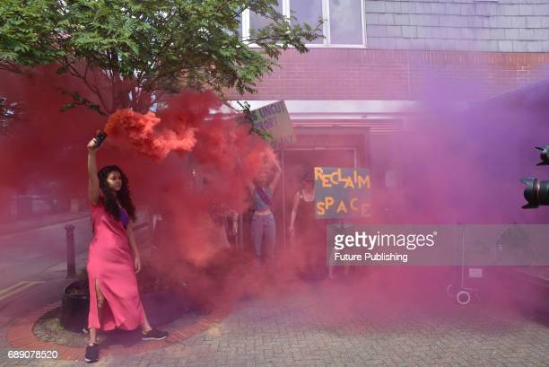 The Sisters Uncut group march on and then occupy part of Holloway Prison against government cuts to domestic violence services on May 27 2017 in...