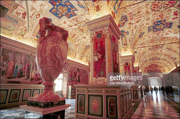 The Sistino lounge in the vatican library Its decoration illustrates Sixtus V's pontificate in Rome Italy on March 28th 2000
