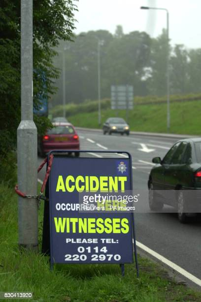 The site Monday 3 July 2000 of a fatal crash between a Daewoo and a Toyota Landcruiser on the A57 past the Todwick crossroads near Sheffield South...
