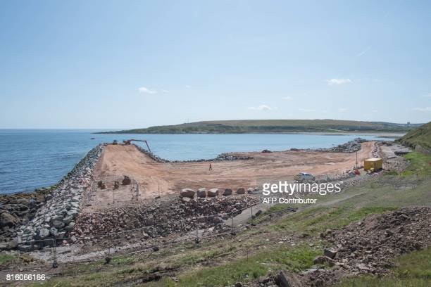 The site of Aberdeen Harbour's Nigg Bay Expansion is pictured during a visit by Scotland's First Minister and Scottish National Party leader Nicola...