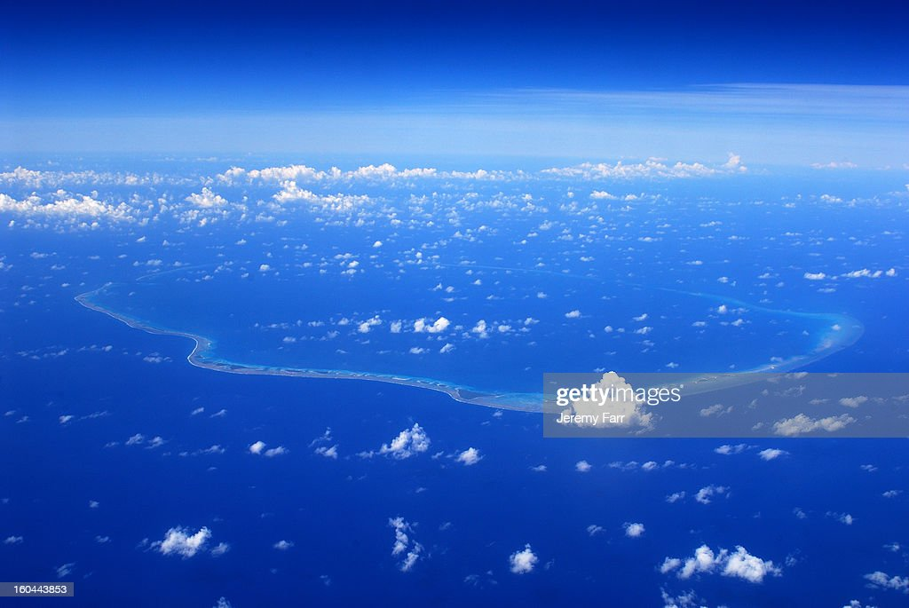 CONTENT] The site of some 43 nuclear test blasts, including that of the 1st successful hydrogen bomb test, code-named Ivy-Mike. Seen looking South from abt 40,000 ft in flight from Guam to Hawaii. Near neighbor to Bikini Atoll to the East.