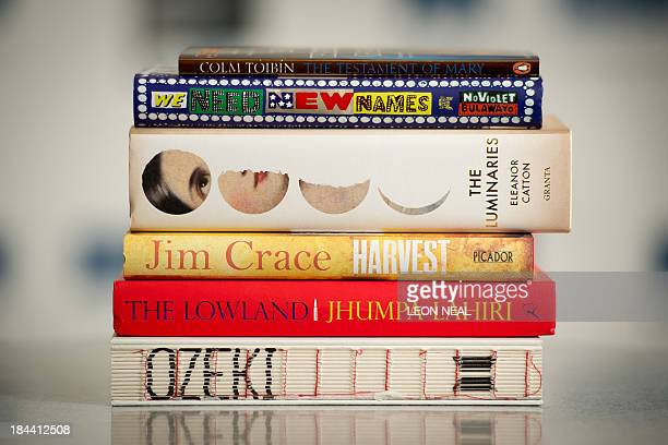 The six books of shortlisted authors for the Man Booker Prize 2013 'A Tale for the Time Being' by Ruth Ozeki 'The Lowland' by Jhumpa Lahiri 'Harvest'...
