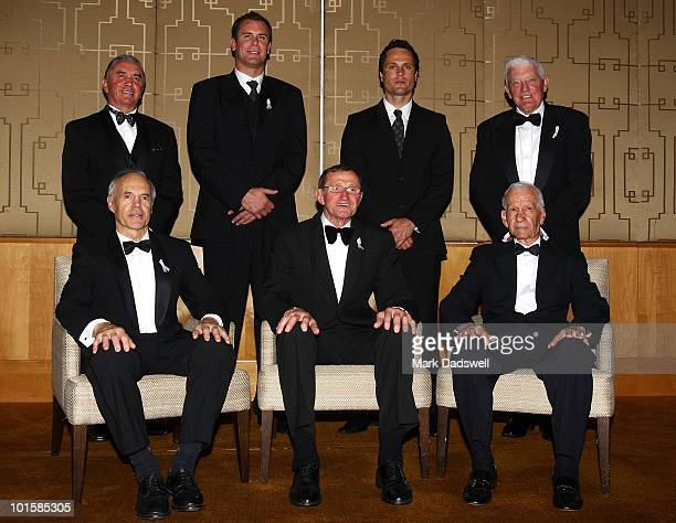 The six inductees of the AFL Hall of Fame are photographed with Legend Kevin Murray at the 2010 Australian Football Hall of Fame induction dinner at...