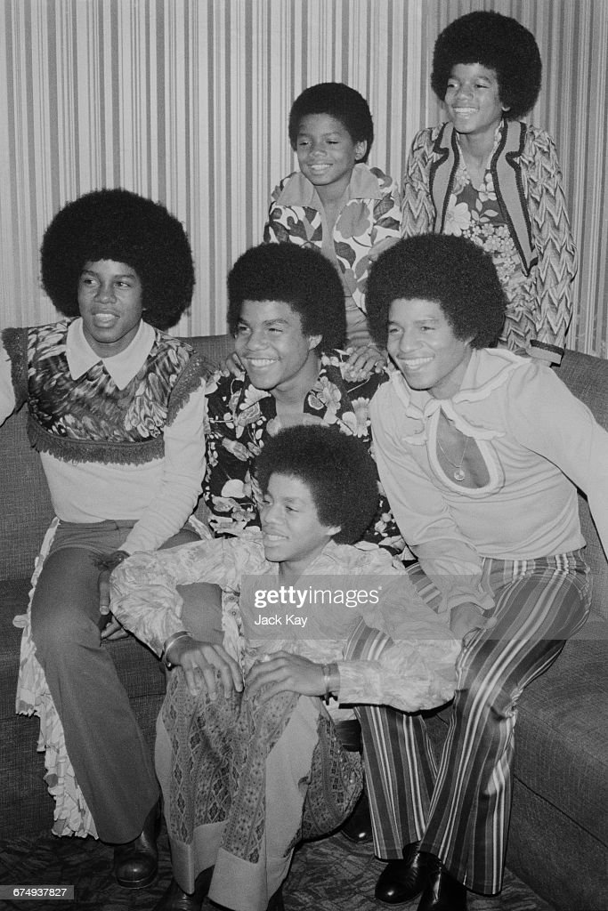 The six members of the American pop group The Jackson 5 or The Jacksons, London, UK, November 1972. They are brothers Jackie, Tito, Jermaine, Marlon, Michael (top right) and Randy Jackson.