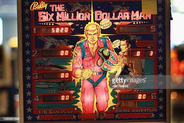 The Six Million Dollar Man pinball machines stands during The Florida Arcade Pinball Expo at the Dania JaiAlai Sports Entertainment Complex on...