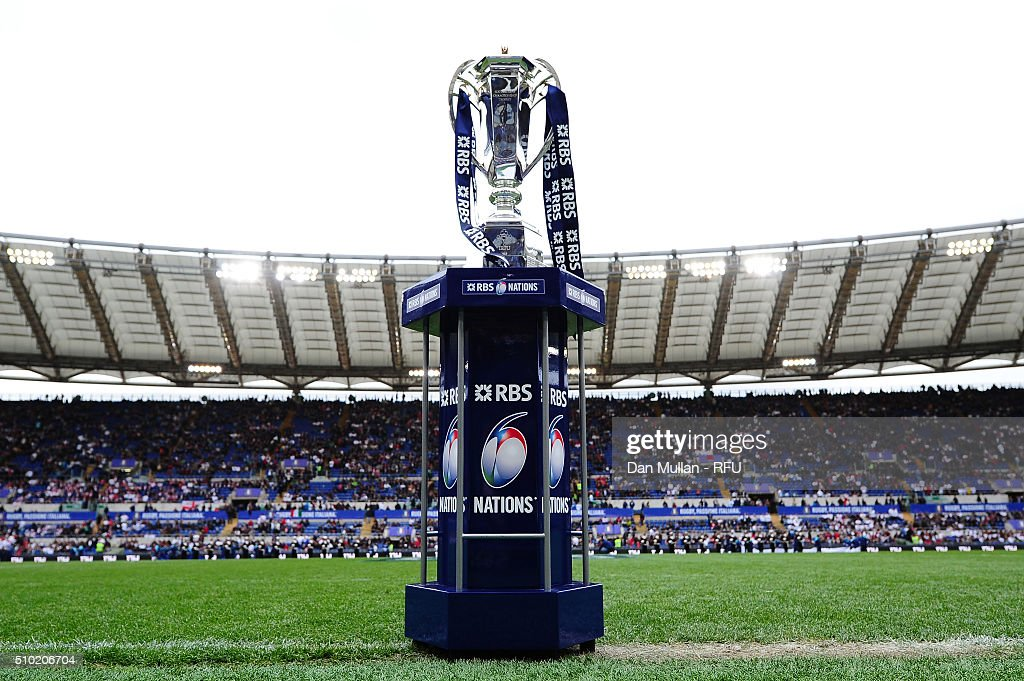The Six nations trophy is displayed during the RBS Six Nations match between Italy and England at the Stadio Olimpico on February 14, 2016 in Rome, Italy.