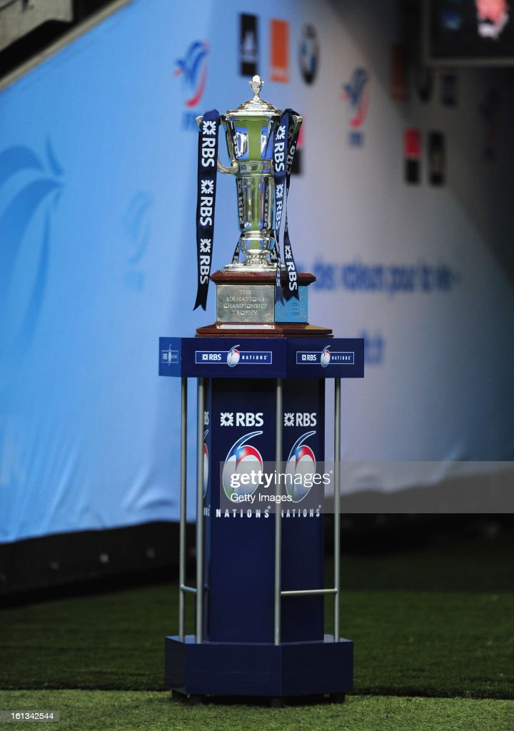 The Six Nations trophy is displayed prior to the RBS Six Nations match between France and Wales at Stade de France on February 9, 2013 in Paris, France.
