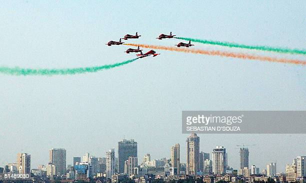 The six of the nine members of the Surya Kiran team of the Aerobatics Team of the Indian Air Force do a crisscross along Marine Drive in Bombay17...