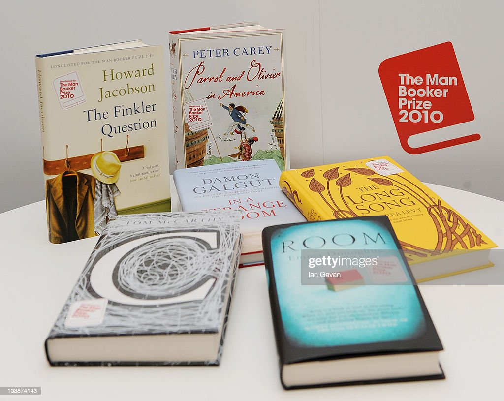 The six titles announced as the Man Booker Prize shortlist are 'Room' by Emma Donoghue, 'C' by Tom McCarthy, 'The Finkler Question' by Howard Jacobson, 'In a Strange Room' by Damon Galgut, 'Parrot and Olivier in America' by Peter Carey and 'The Long Song' by Andrea Levy. September 7, 2010 in London, England.