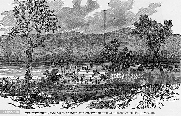 The Sixteenth Army Corps fords the Chattahoochee River at Roswell's Ferry on July 10 1864
