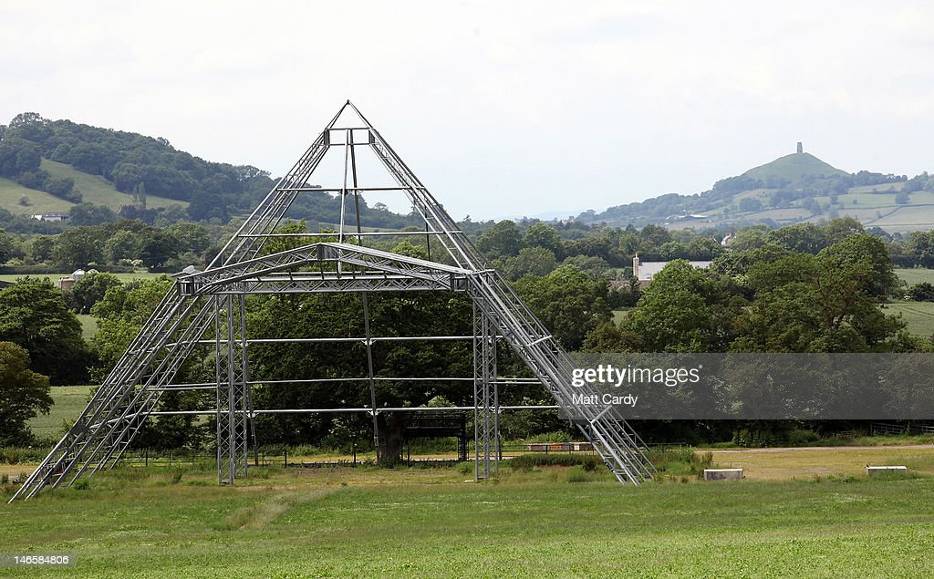 The skeleton of the main Pyramid Stage at the Glastonbury Festival site at Worthy Farm, Pilton is seen on June 20, 2012 near Glastonbury, England. Today would have been the day that the gates would have opened for what has become Europe's biggest music festival, but because of the London 2012 Olympics it was decided by the organisers to take this year off. However, this week it was announced that the festival - which started in 1970 when several hundred festival-goers paid 1 GBP to watch Marc Bolan and has now attracts more than 175,000 people over five days - will feature in a mosh-pit style tribute in the opening ceremony of the London 2012 Olympic Games. The Festival will return in June 2013.