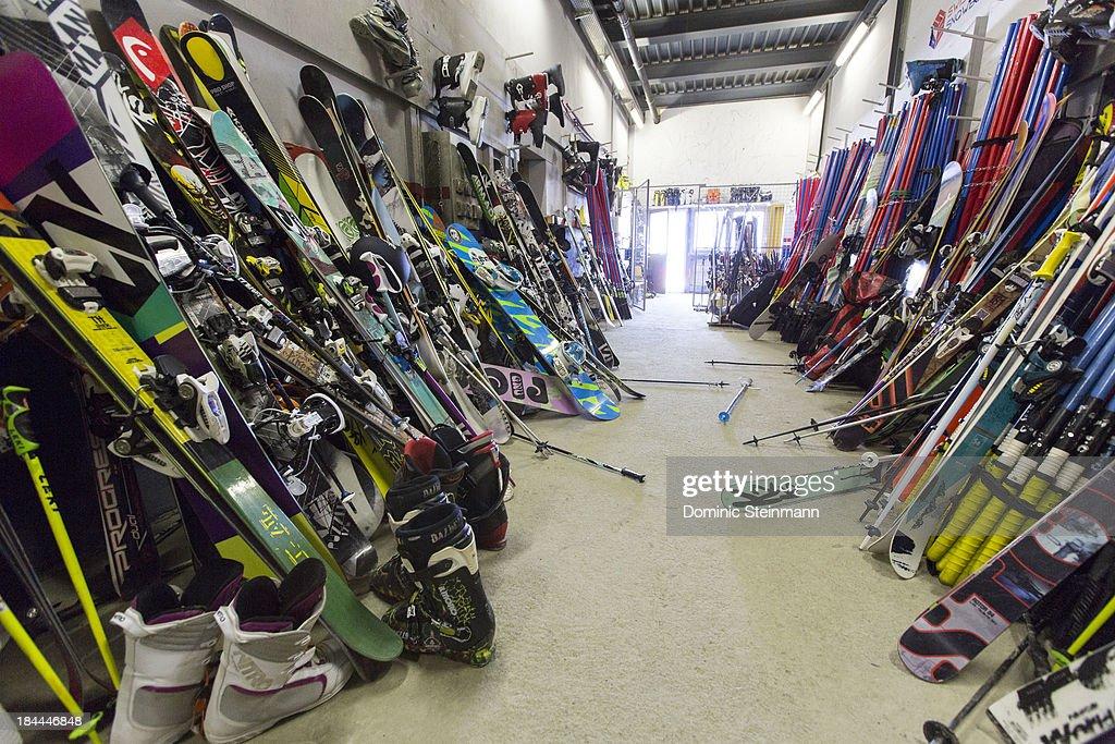The ski deposit on 3500 meters altitude with skis, boots, poles and slalom poles of international ski teams on September 13, 2013 in Saas-Fee, Switzerland.
