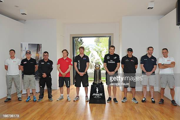 The skippers Chris Draper of Great Britain Roman Hagara of Austria Mitch Booth of the Netherlands Charlie Ekberg of Sweden Tom Slingsby of Australia...