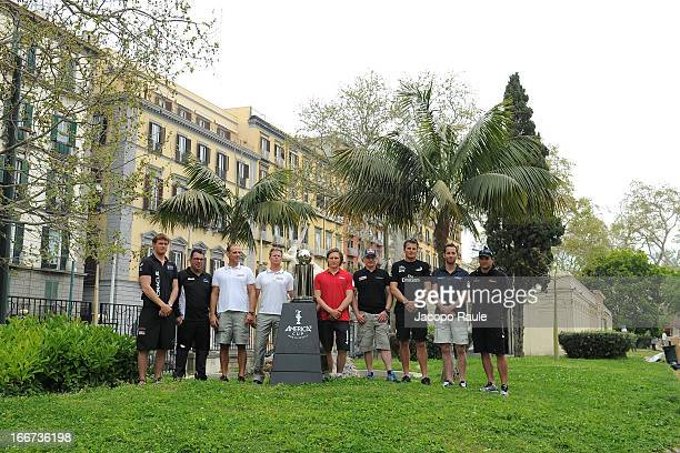 The skippers Tom Slingsby of Australia Mitch Booth of the Netherlands Francesco Bruni of Italy Chris Draper of Great Britain Charlie Ekberg of Sweden...